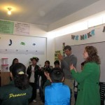At Promesa school, Peter works with Brook to teach an elementary music class.