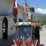 San  Ramón has many mototaxis. And since July is the month that celebrates Peruvian independence, the Peruvian flag is everywhere.