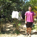 Zach had done his laundry earlier in the day and hung it to dry on coffee plants.