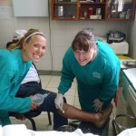 Working with a patient at the health center. A photo shared by the medical staff.