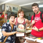 Erin, Rosanna, and Josh check out a bookstore