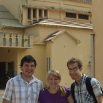 Chris, Katie, and Jon in front of the cathedral