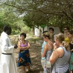Touring the monastery grounds