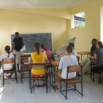Swahili class in the newly painted classroom at Upanga