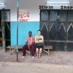 Photo by Anna: my daladala stop (waiting with my brother)