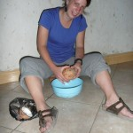 Photo by Anna: removing coconut