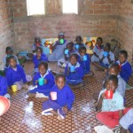 Meg's students having their porridge