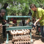 Pressing the cassava to remove the water