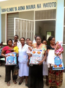 Mothers at the clinic receiving their nets