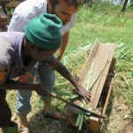 Richard teaching Andre how to cut stalks for the cows.