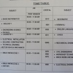 The class schedule - including technical courses.