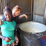 The cafeteria where enough ugali for 230 students is made in one pot!