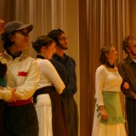 Barbarina (Karen Graber), Cherubino (Sara Thögersen) and Chorus members (Grace Eidmann, Holden Brubaker, Kate Harnish and Nathan Swartzendruber)