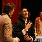 Orgon (Sam Jones), Tartuffe (Aaron Kaufmann), Damis (Josh Hofer)